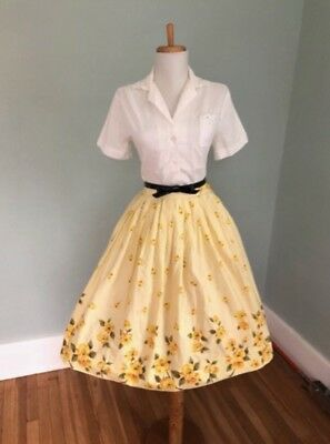 Vintage 1950s Yellow Rose Skirt