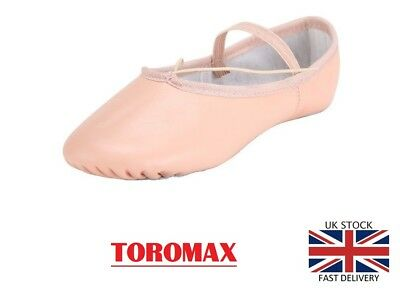 Pink Leather Ballet Dance Slippers Gym Shoes Childs Boys Girls Sizes Full Sole