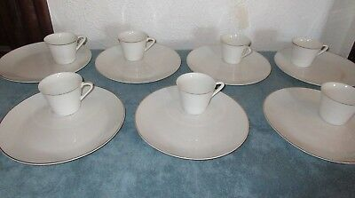 14 Pc Topline Imports White Porcelain Snack Sets - Plates & Cups Made in Japan
