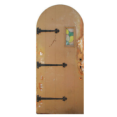 """Reclaimed Antique 36"""" Arched Plank Door with Strap Hinges & Leaded Glass, NED881"""