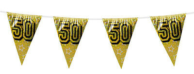 50th Birthday/Anniversary Party Gold Holographic Flag Bunting Banner Decoration