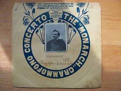 "Enrico Caruso ""La donna e mobile"" original 10"" Monarch Grammofono 78rpm Cover"