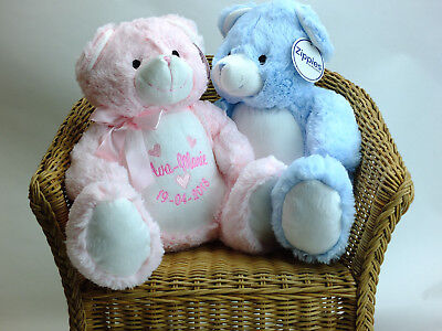 Personalised Embroidered Teddy Bear, Embroidered Teddies, Baby Gift, Soft Toy
