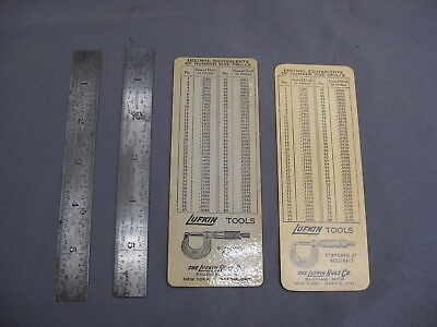 Lufkin Machinist Rulers No 2604R & 2604R-E With Drill Charts