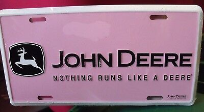 Pink John Deere License Plate New