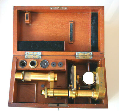E LEITZ ALL BRASS MICROSCOPE Circa 1900 No4881, in makers fitted  mahogany case