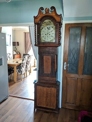 Antique English Flame Mahogany Grandfather Long case Clock 8 day original 1840's