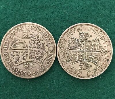Two Half Crown Great Britain Silver Coins