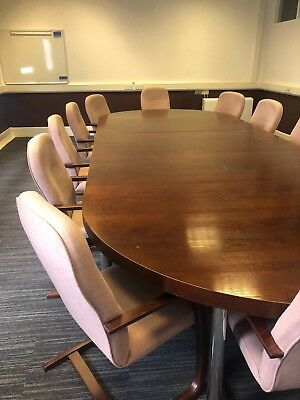 12 seater executive boardroom table and upholstered chairs, Approx 17' x 6'.