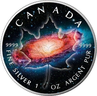 2018 1 Oz Silver $5 MAPLE LEAF MILKY WAY,MAPLE Planet Serie Coin, BOX AND COA.