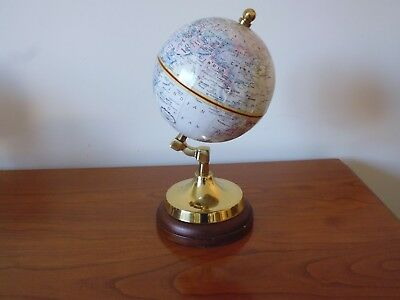 Miniature Replogle Vintage Desk Top World Globe On Mahogany & Brass Base