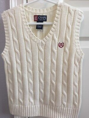 Boys Sweater Vest By Chaps Size 5. Offwhite. Very Nice!