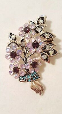 Stunning Vintage Art Deco Pot Metal Rhinestone Flower Bouquet Pin Brooch Large