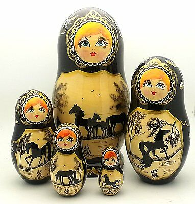 HORSE Russian Hand Carved Hand Painted Nesting DOLL Set of 5 dolls  Black gold