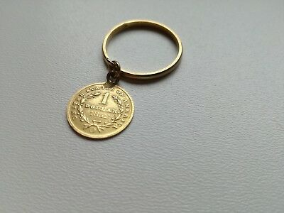 "1 Dollar Münze O USA  Gold 1852 mit Goldring  ""Liberty Head"" 750er Gold Schmuck"