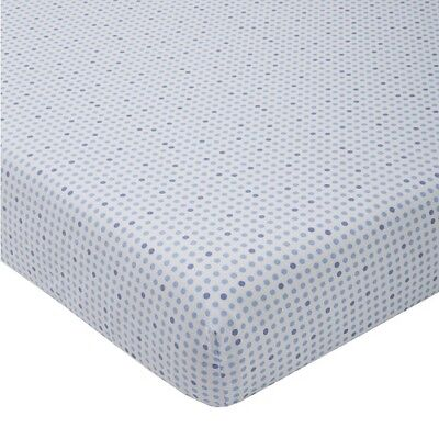Giggle Brand Fitted Crib Sheet White with Blue Polka Dots  100% Cotton NIP