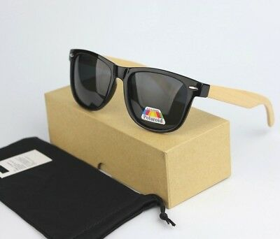 Vintage Retro Wood Bamboo Temple Black Sunglasses Polarized UV400 BOX+Soft Case