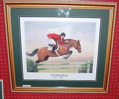 """""""Hunter/Jumper"""" Horse Art by James Crow in 24""""x27"""" Frame """"Flying High"""""""