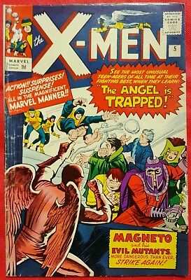 X-Men 5 Marvel Silver Age 1964 3rd Magneto app 2nd Scarlett Witch Quicksilver ap