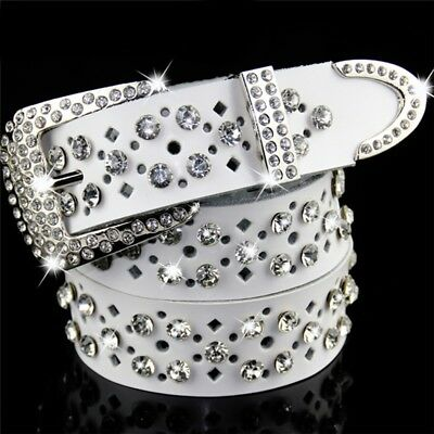 Ladies Genuine Leather Bling Crystal Diamond Belts Hollow-Out Design Waistbands