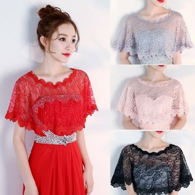 Bride Wedding Lace Tulle Shawl Elegant Thin Tippet Bolero Jacket Women Cape Wrap