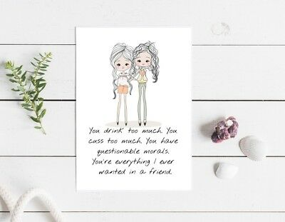 best friends you drink too much funny greeting card 115x170mm blank birthday