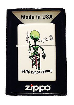 Zippo Custom Lighter We're Not So Different Alien Smoking & Drinking Pocket New