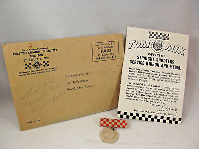 Vintage Tom Mix Straight Shooter Service Ribbon Medal and Mailer Cereal Premium