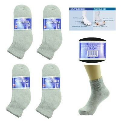 6 Pairs Diabetic Ankle Quarter Circulatory Socks Health Mens Cotton 9-15 low GY