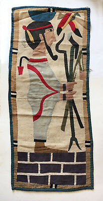 ANTIQUE 1920s EGYPTIAN REVIVAL Art Deco applique TAPESTRY textile PHARAOH god
