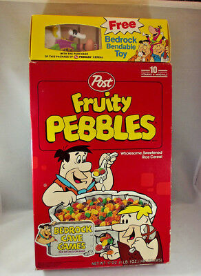 Vintage Post Cereal Flintstones Fruity Pebbles Box w Bedrock Bendable Toy Dino