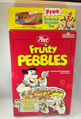 Vintage Post Cereal Flintstones Fruity Pebbles Box w Bedrock Bendable Toy Fred