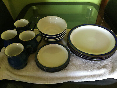 16 Piece Denby Dinner Set, Imperial Blue, In Very Good Condition