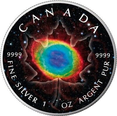 2018 1 Oz Silver $5 MAPLE LEAF RING NEBULA,MAPLE Planet Serie Coin.