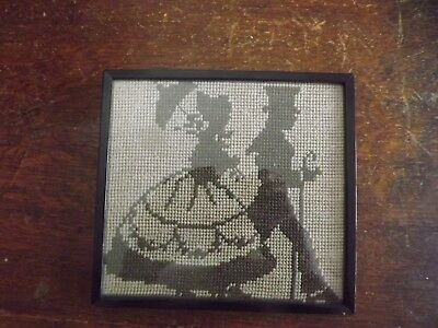 Antique 1910 Cross Stitch Silhouette  Small Picture 7.4X6.8In Original Frame