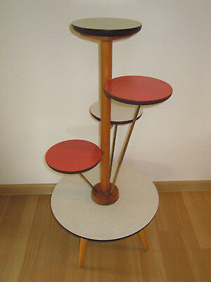 Vintage 50s 60s German Multicolour Wood Formica Brass Plant Stand Mid Century
