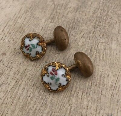 Vintage Antique Painted Floral Enamel Cufflinks French? Gold Tone