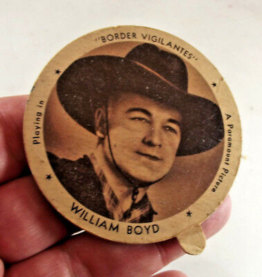 Vintage Hopalong Cassidy William Boyd Dixie Ice Cream Lid 1941 with Free Ship