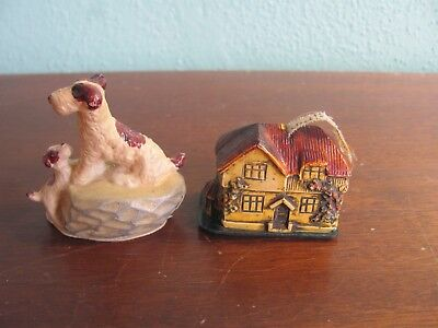 Vintage Celluloid Plastic Tape Measure Dog Puppy House Lot of 2 Sewing