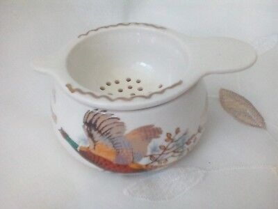 Vintage tea strainer with pheasant motif, West Highland Pottery, Dunoon, Argyll