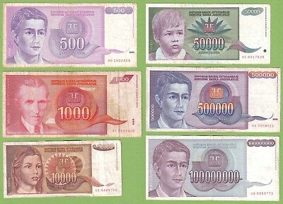 Yugoslavia - Lot - 6 banknotes - 1992-93 - VG/VF Money Currency Nikola Tesla