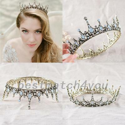Wedding Bridal Retro Crystal Queen Tiara Crown Headband Princes Hair Accessories