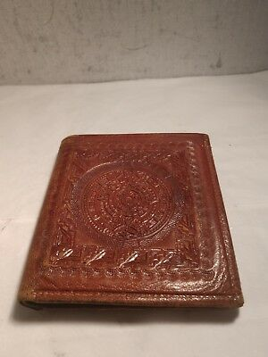 Vintage Hand Tooled - Casa Arve - Leather Wallet Aztec Sundial