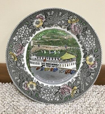 "EXCEPTIONAL S.S. Grand View Point Ship Hotel 10"" Staffordshire Plate Bedford PA"