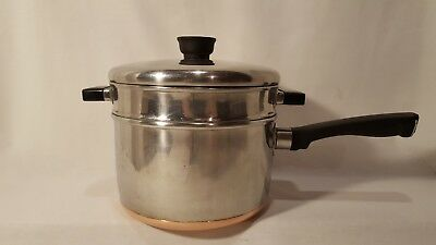 Vintage Sears Maid Of Honor 3 Qt Stainless Steel Copper Bottom Pan w/lid,boiler