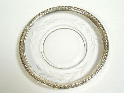Sterling Silver Rope Rim Etched Glass Saucer Plate Flower trinket Dish