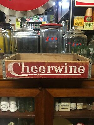 VINTAGE CHEERWINE WOODEN BOTTLE CRATE Sign Sundrop Crush Orange Pepsi Dr Pepper