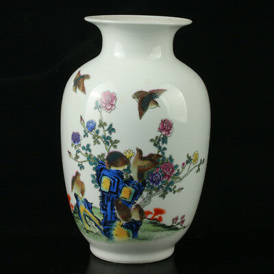 China Pastel Porcelain Hand Painted  Vase Mark  As The Qianlong  R1059