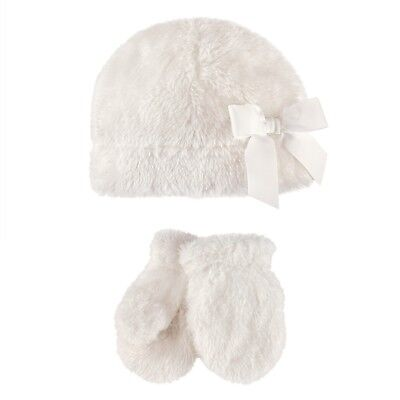 HUDSON BABY Girl Sherpa Bow Hat with Mittens 0 - 6 Months BRAND NEW