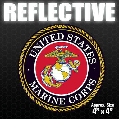 REFLECTIVE Marine Corps Sticker - USMC Military car truck vinyl decal bumper USA